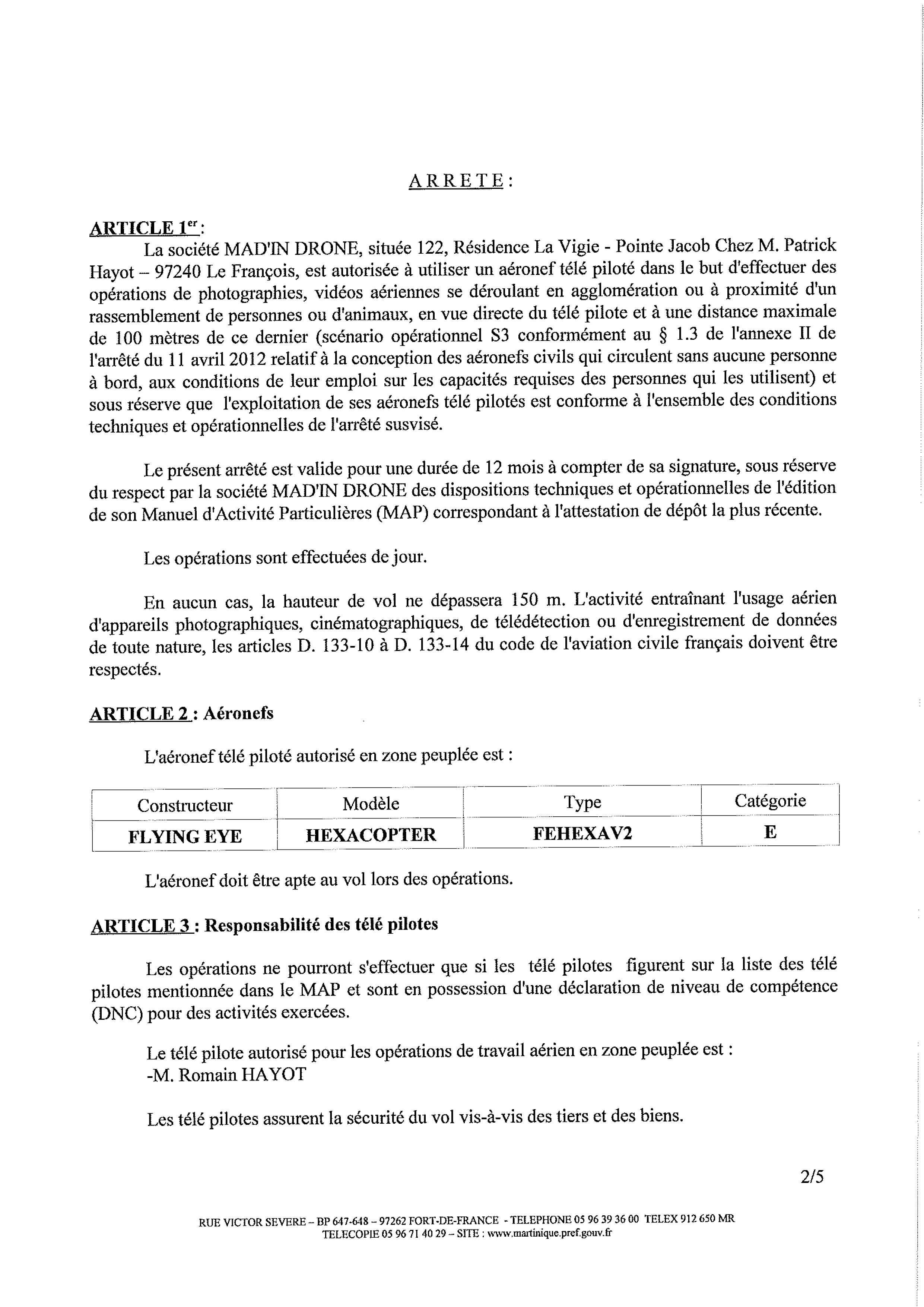 Mad'In Drone - Arrêté Préfectoral Martinique - Autorisation de survol des agglomérations