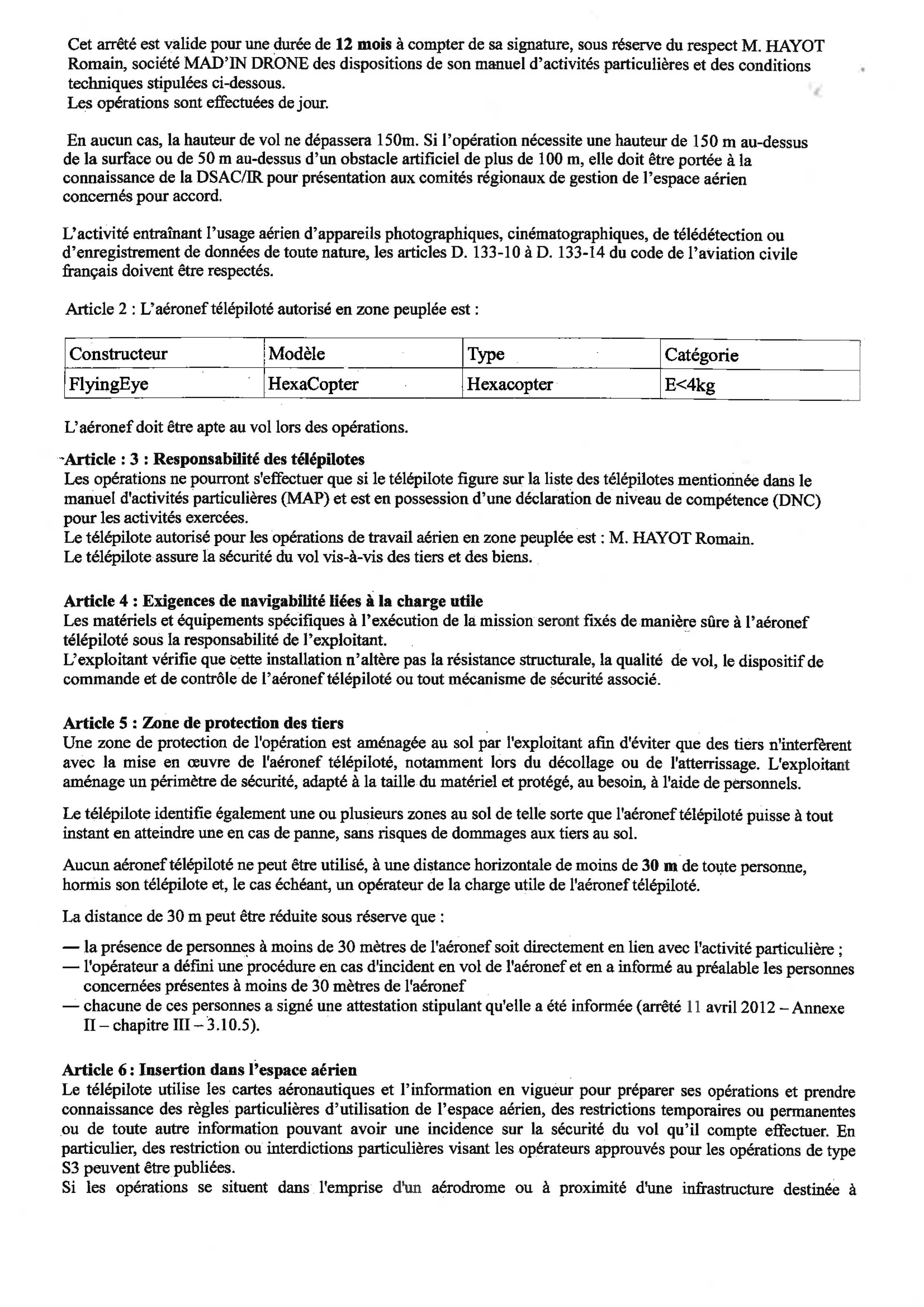 Mad'In Drone - Arrêté Préfectoral Guadeloupe - Autorisation de survol des agglomérations